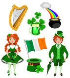 Símbolos do dia de Patrick de Saint Imagem de Stock Royalty Free