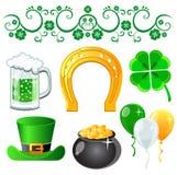 Símbolos do dia de Patrick de Saint Imagem de Stock