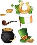 Símbolos do dia de St Patrick Fotografia de Stock