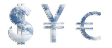 Símbolos do dinheiro do céu foto de stock