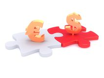 Símbolos do dinheiro em peaces do enigma Fotos de Stock Royalty Free