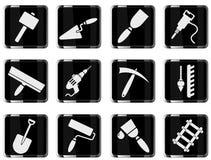 Símbolos do equipamento da construção Foto de Stock