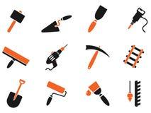 Símbolos do equipamento da construção Imagens de Stock