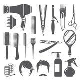 Símbolos do equipamento do cabeleireiro Imagens de Stock