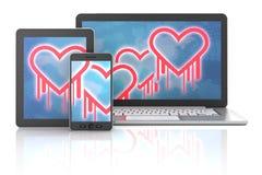 Símbolos do erro de Heartbleed em dispositivos Imagem de Stock