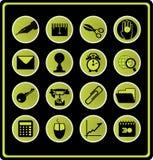 Símbolos do escritório - verde. Foto de Stock