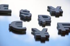 Símbolos do Euro, dos ienes e do dólar Imagem de Stock Royalty Free