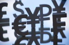 Símbolos do Euro, dos ienes e do dólar Fotos de Stock