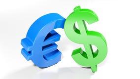 Símbolos do Euro e do dólar - rendição 3D Foto de Stock