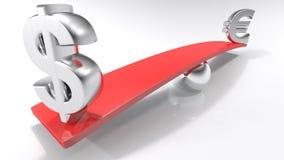 Símbolos do Euro e do dólar em lados opostos de um plano equilibrado Imagem de Stock