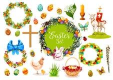 Símbolos do feriado da Páscoa com ovo, coelho, galinha Foto de Stock