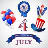 Símbolos do feriado do Dia da Independência Vetor Imagens de Stock Royalty Free