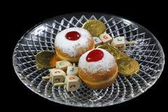 Símbolos do feriado judaico do Hanukkah Imagem de Stock Royalty Free