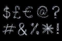 Símbolos do giz no quadro-negro Foto de Stock Royalty Free