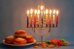 Símbolos do Hanukkah fotos de stock royalty free