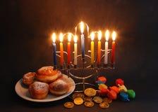 Símbolos do Hanukkah fotos de stock
