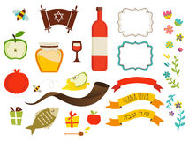 Símbolos do hashanah do rosh, ano novo judaico Fotos de Stock Royalty Free
