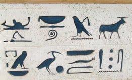 Símbolos do hieróglifo na parede foto de stock royalty free
