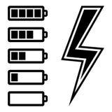 Símbolos do nível da bateria Fotos de Stock