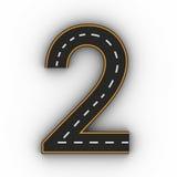 Símbolos do número dois das figuras sob a forma de uma estrada com linha branca e amarela rendição das marcações 3d fotos de stock royalty free