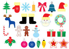 Símbolos do Natal do vetor. Elementos de cor ilustração do vetor
