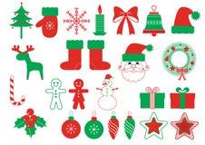 Símbolos do Natal do vetor. Elementos verdes vermelhos ilustração stock