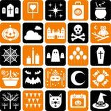 Símbolos do partido dos ícones de Halloween Fotos de Stock