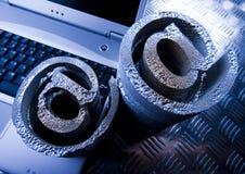 Símbolos do portátil & do Internet Foto de Stock Royalty Free