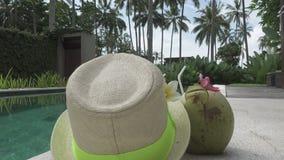 Símbolos do resto no cocktail do recurso no coco e uma mentira do chapéu de palha na borda da associação entre palmeiras video estoque