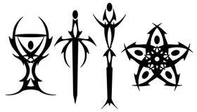 Símbolos do tatuagem de Tarot ilustração royalty free