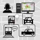 Símbolos do transporte com apoio de voz técnico Foto de Stock Royalty Free