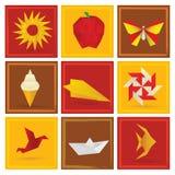 Símbolos do verão do origâmi Imagens de Stock