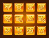 Símbolos do zodíaco do ouro Imagem de Stock