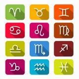 Símbolos do zodíaco em quadrados arredondados Fotografia de Stock Royalty Free