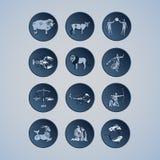 Símbolos do zodíaco em um fundo azul Imagens de Stock