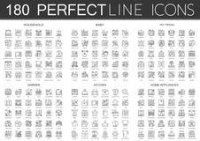 180 símbolos dos ícones do conceito do esboço mini do agregado familiar, bebê, amigo do animal de estimação, jardim, cozinha, íco ilustração royalty free