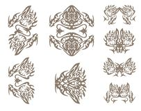 Símbolos dos dragões no estilo tribal Fotos de Stock