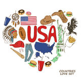 Símbolos dos EUA no conceito da forma do coração Fotos de Stock Royalty Free
