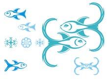 Símbolos dos peixes, vetor Imagens de Stock Royalty Free