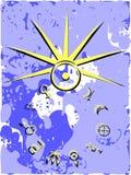 Símbolos dos planetas com a decoração no fundo ilustração do vetor