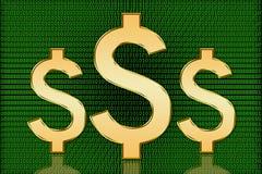 Símbolos dourados do dólar dos E.U. Digitas - moeda de Digitas Imagens de Stock Royalty Free