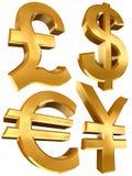 Símbolos dourados do euro e dos ienes do dólar da libra Imagens de Stock