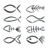 Símbolos drenados mano de los pescados Foto de archivo libre de regalías