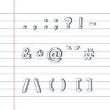Símbolos drenados mano del texto en el papel alineado Foto de archivo libre de regalías