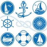 Símbolos e ícones náuticos Imagens de Stock Royalty Free