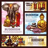 Símbolos e elementos do esboço da religião do budismo ilustração royalty free