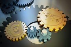 Símbolos e engrenagem de moeda foto de stock