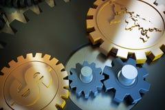 Símbolos e engrenagem de moeda imagens de stock royalty free