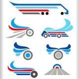 Símbolos e iconos abstractos del transporte Foto de archivo libre de regalías