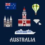 Símbolos e iconos australianos nacionales Foto de archivo libre de regalías